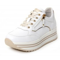 Nero Giardini Women's E10560D-707 In White Leather/Gold Trim