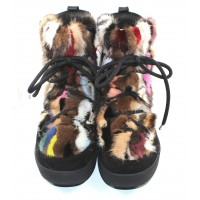 Pajar Women's Anet In Black Suede/Multi Colored Rabbit