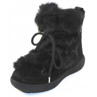 Pajar Women's Anet In Black Rabbit Fur/Suede