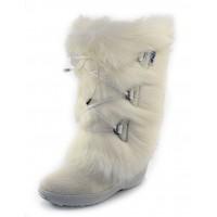 Pajar Women's Davos In White Goat Fur/Cow Hair