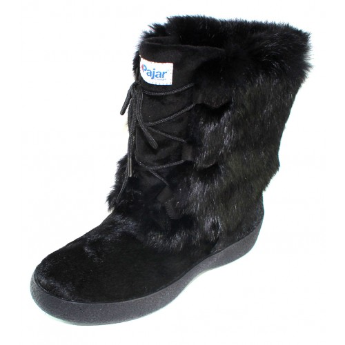 Pajar Women's Livia In Black Rabbit Fur/Hair Calf