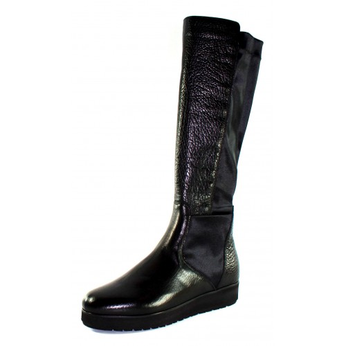 Pas De Noir Women's Helga M703Pn In Black Salinas Grain Leather/Naj Grain Leather/Black Elastic