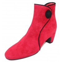 Pas De Rouge Women's Angela 1303 In Red Suede/Silver Trim