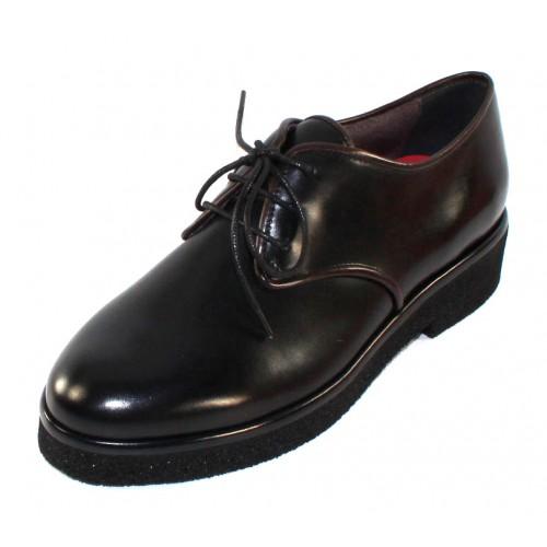 Pas De Rouge Women's Cleojuan R328 In Black Waterproof Idro Calf Leather/Brown Leather Trim