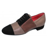Pas De Rouge Women's Daria 2479 In Black Suede/Brown/Taupe Cinder Shimmer Leather