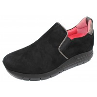 Pas De Rouge Women's Dixie 2062B In Black Suede/Anthracite Leather
