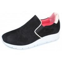Pas De Rouge Women's Dixie 2062B In Black Suede/White Nappa Leather