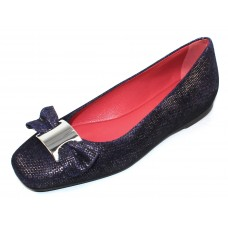 Pas De Rouge Women's Donata B1822 In Dark Blue Goffrato Embossed Suede/Nickle Ornament