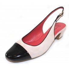 Pas De Rouge Women's Eloe 1696 In Pale Suede/Black Patent Leather