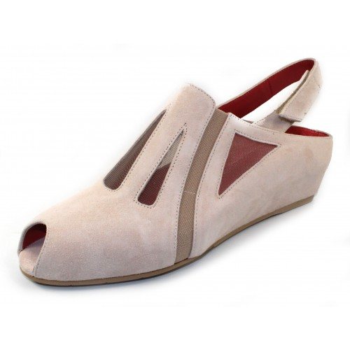 Pas De Rouge Women's Franca 1132 In Almond Suede/Neutral Mesh