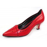 Pas De Rouge Women's Janet 1105 In Red Kidskin Leather
