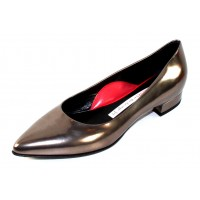 Pas De Rouge Women's Janet R216 In Rutaino Gunmetal Metallic Leather