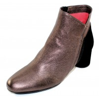 Pas De Rouge Women's Lucia 2412 In Marrone Metallic Leather/Black Suede/Rame Metallic Leather