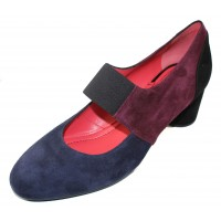 Pas De Rouge Women's Lucia 2414 In Ink Blue/Burgundy/Black Suede