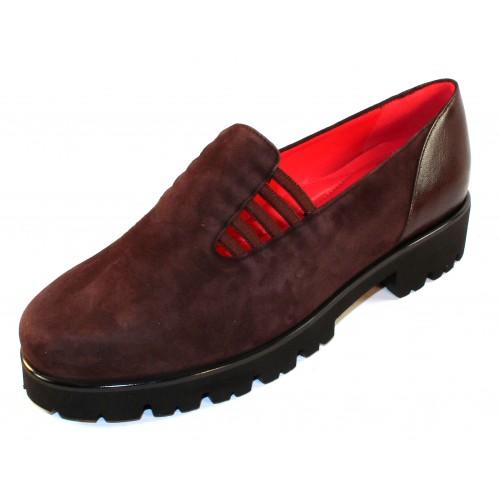 Pas De Rouge Women's Marta 1312 In T. Moro Dark Brown Suede/Foulard Leather