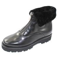 Pas De Rouge Women's Marta 3707Wp In Black Waterproof Idro Leather/Fur