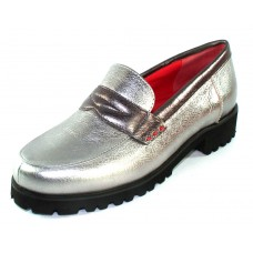 Pas De Rouge Women's Marta N397 In Acciaio Silver/Ferro Dark Grey Brill Metallic Leather