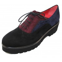 Pas De Rouge Women's Nora 1994 In Black/Blue/Burgundy Suede
