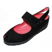 Pas De Rouge Women's Silvia 2364 In Black Suede/Embossed Luminous Suede
