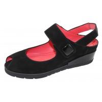 Pas De Rouge Women's Silvia 3483 In Black Suede/Patent Leather Trim