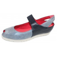 Pas De Rouge Women's Silvia P928 In Blue Printed/Nappa Leather