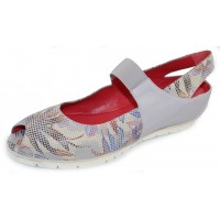 Pas De Rouge Women's Silvia P928 In Light Grey Nappa Leather/Multi Stamped Suede