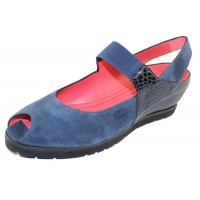 Pas De Rouge Women's Silvia P928 In Prussia Blue Embossed Leather/Suede