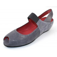 Pas De Rouge Women's Silvia R918 In Denim Greyish-Blue Rama Embossed Lizard Printed Leather/Grey-Blue Serenity Suede