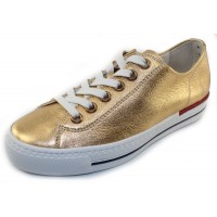 Paul Green Women's Carly Sprt Sneaker In Oro Nappa Metallic Leather