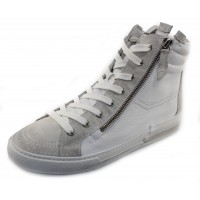 Paul Green Women's Eileen Snkr In Ice White Leather/Grey Suede