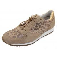 Paul Green Women's Elvis Sneaker In Sand/Leopard Printed Suede