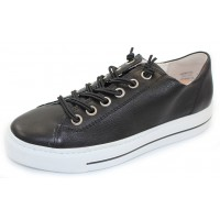 Paul Green Women's Hadley Sneaker In Black Smooth Glove Leather