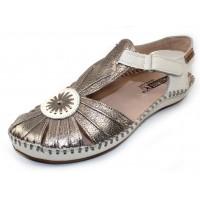Pikolinos Women's P. Vallarta 655-8899C2 In Stone Metallic/White Leather