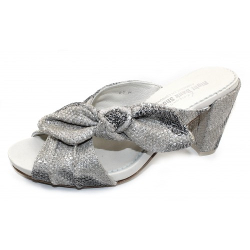 Right Bank Shoe Co Women's Dine In Sand Silver Metallic Python Printed Leather