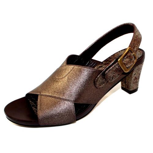 Right Bank Shoe Co Women's Hunter In Antique Bronze Metallic Elastic/Pewter Cobra Metallic Printed Leather