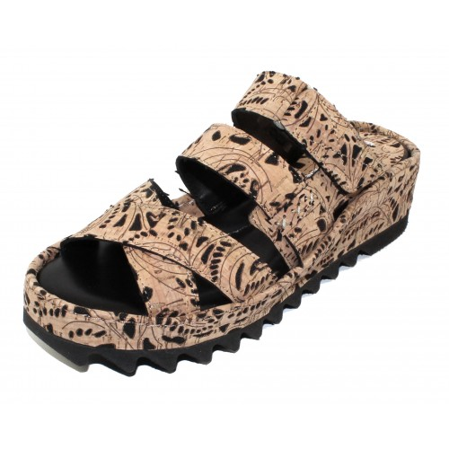 Right Bank Shoe Co Women's Ivy In Natural/Black Rosette Cork