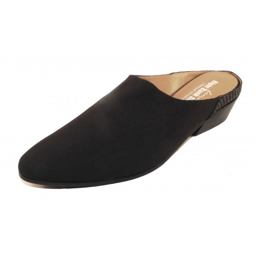 Right Bank Shoe Co Women's Madam In Black Silk Elastic/Reptile Embossed Leather