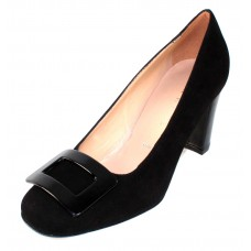 Ron White Women's Vietta In Onyx Black Kid Suede/Patent Leather