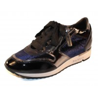 Ron White Women's Zella In Indigo Gloss Patent Leather/Crushed Velvet/Mirror Trim