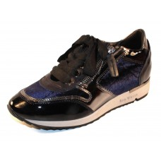 Ron White Women's Zella In Indigo Gloss Patent Leather/Crushed Velvet/Mirror Trim