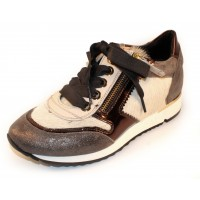 Ron White Women's Zetta In Distressed Fawn Calfskin Leather/White Haircalf/Bronze Mirror Trim