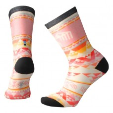 Smartwool Bird Geo Curated Crew Socks In Bright Coral Wool/Nylon