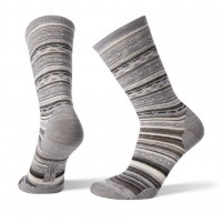 Smartwool Ethno Graphic Crew Socks In Light Gray/Black Wool/Nylon