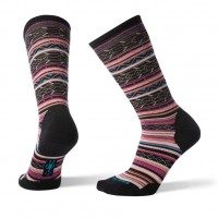 Smartwool Ethno Graphic Crew Socks In Black/Meadow Mauve Heather Wool/Nylon