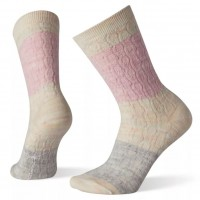 Smartwool Color Block Cable Crew Socks In Pink Nectar