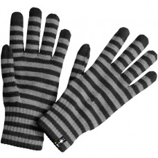 Smartwool Stripped Liner Gloves In Black Wool/Acrylic/Poly