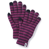 Smartwool Stripped Liner Gloves In Mauve Wool/Acrylic/Poly