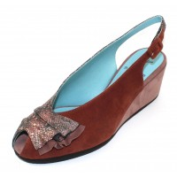 Thierry Rabotin Women's Clark In Multicolor Python Embossed Leather/Rust/Mauve Suede