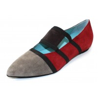 Thierry Rabotin Women's Miriam In Gray/Brown/Red Suede