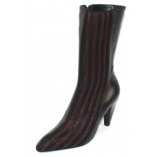 Thierry Rabotin Women's Mistic In Black Nappa Luxury Leather/Burgundy Sparkle Stretch/Black Mesh Stretch